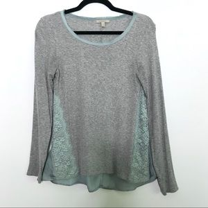 Anthropologie Bordeaux Lace Santine Top Gray XS